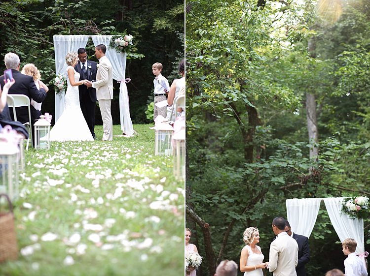 Outdoor Ceremony Bride Lace Mermaid Bridal Gown With Straps Groom Beige Suit White Curtains Floral Bouquets Flower Petals Candle Lanterns Guests Soft Romantic Woodland Wedding Tennessee http://www.jessicaleephotographicart.com/