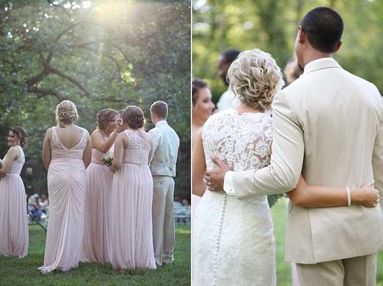 Bridesmaids Pale Pink Lace Chiffon Dresses Bride Lace Mermaid Bridal Gown With Straps Groom Beige Suit Hug Soft Romantic Woodland Wedding Tennessee http://www.jessicaleephotographicart.com/