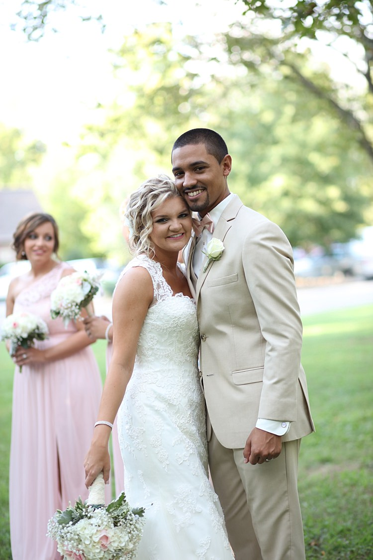 Bride Lace Mermaid Bridal Gown With Straps Floral Hairpiece Bouquet White Hydrangeas Pink Roses Baby's Breath Groom Beige Suit White Shirt Pale Pink Bow Tie Bridesmaid Pale Pink Dress Trees Grass Soft Romantic Woodland Wedding Tennessee http://www.jessicaleephotographicart.com/