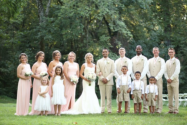 Bride Lace Mermaid Bridal Gown With Straps Bouquet Groom Beige Suit White Shirt Pale Pink Bow Tie Bridal Party Groomsmen Bridesmaids Pale Pink Lace Chiffon Dresses Flower Girls Page Boys Soft Romantic Woodland Wedding Tennessee http://www.jessicaleephotographicart.com/