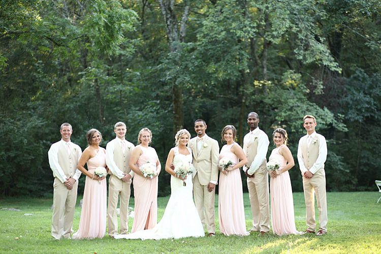 Bride Lace Mermaid Bridal Gown With Straps Pink White Bouquet Hydrangea Roses Groom Beige Suit White Shirt Pale Pink Bow Tie Bridal Party Groomsmen Beige Suits Bridesmaids Pale Pink Lace Chiffon Dresses Soft Romantic Woodland Wedding Tennessee http://www.jessicaleephotographicart.com/