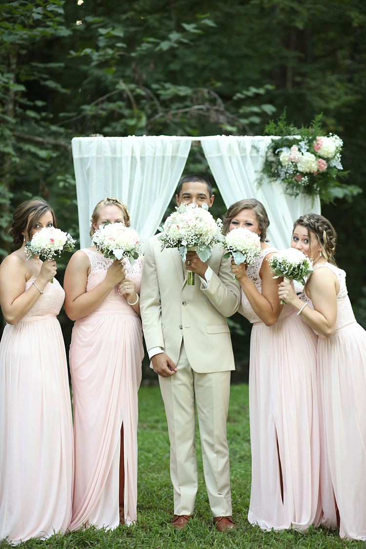 Groom Beige Suit White Shirt Bridesmaids Pale Pink Lace Chiffon Dresses Bouquet White Hydrangea Pink Roses Baby's Breath White Curtains Florals Trees Grass Soft Romantic Woodland Wedding Tennessee http://www.jessicaleephotographicart.com/
