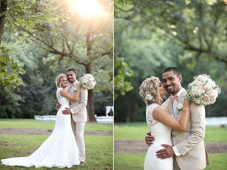 Bride Lace Mermaid Bridal Gown With Straps Floral Hairpiece Bouquet White Hydrangea Pink Roses Baby's Breath Groom Beige Suit White Shirt Pale Pink Bow Tie Trees Sunlight Grass Soft Romantic Woodland Wedding Tennessee http://www.jessicaleephotographicart.com/