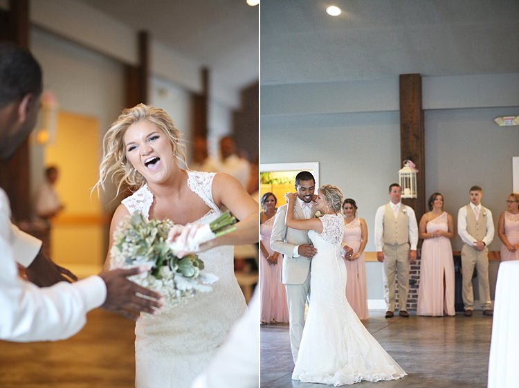 Reception Bride Lace Mermaid Bridal Gown With Straps Floral Hairpiece Bouquet White Hydrangea Pink Roses Baby's Breath Groom Beige Suit White Shirt Pale Pink Bow Tie Dancing Laughs Soft Romantic Woodland Wedding Tennessee http://www.jessicaleephotographicart.com/