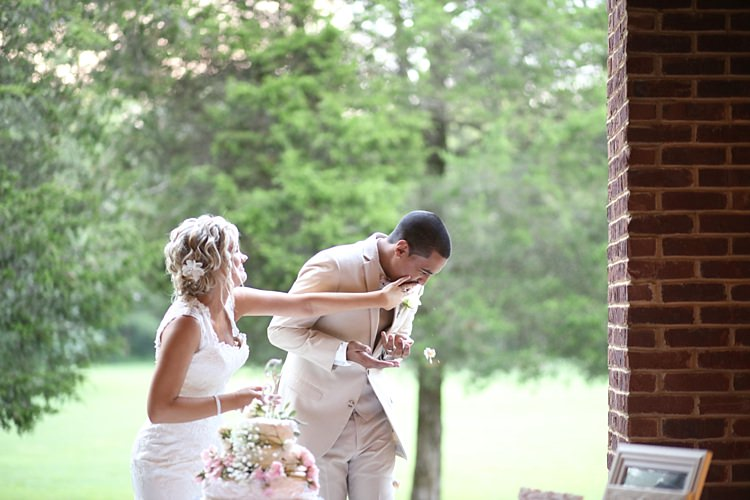 Cake Cutting Fun Wedding Cake Sparkly Cake Topper Pink Roses Baby's Breath Bride Lace Mermaid Bridal Gown With Straps Floral Hairpiece Groom Beige Suit White Shirt Pale Pink Bow Tie Soft Romantic Woodland Wedding Tennessee http://www.jessicaleephotographicart.com/