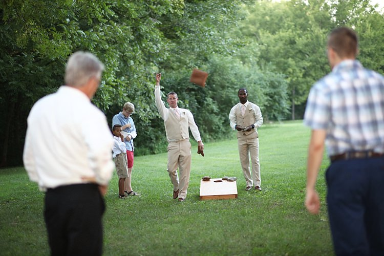 Reception Groomsmen Guests Outside Games Trees Grass Fun Soft Romantic Woodland Wedding Tennessee http://www.jessicaleephotographicart.com/