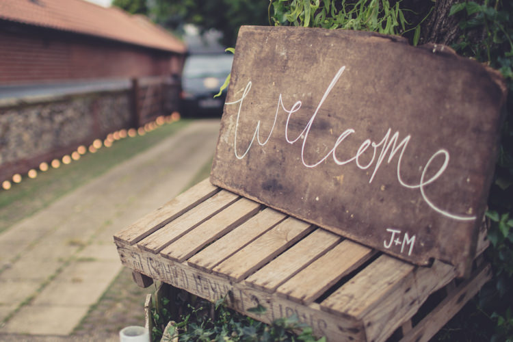 Welcome Sign Wooden Calligraphy Homespun Festival Village Hall Wedding http://www.himandherweddingphotography.co.uk/