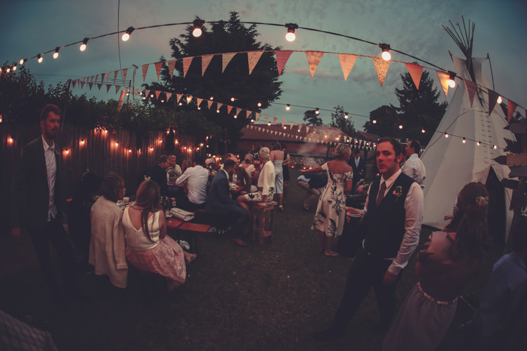 Festoons Bunting Tipi Homespun Festival Village Hall Wedding http://www.himandherweddingphotography.co.uk/
