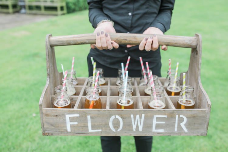Bottle Drinks Crate Romantic Pink Summer Glamping Wedding http://helenrussellphotography.co.uk/