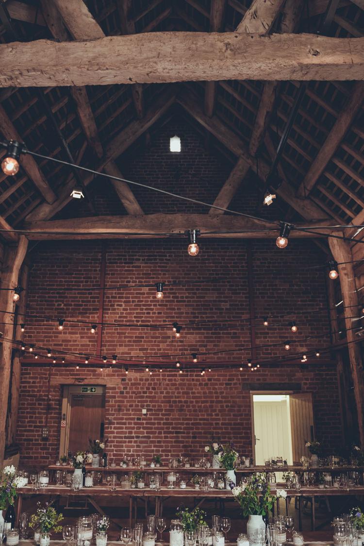 Festoon Lights Flowers Jars Tables Decor Rustic Home Made Country Barn Wedding http://lisahowardphotography.co.uk/
