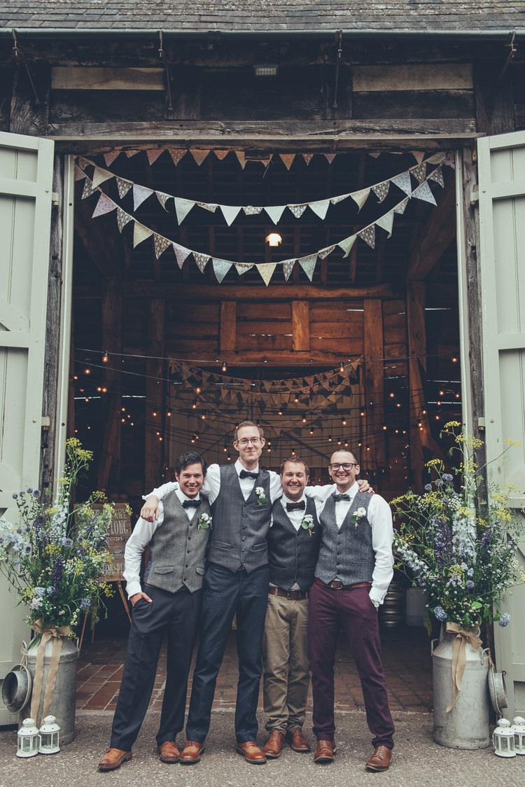 Groomsmen Mismatched Waistcoats Chinos Bow Ties Rustic Home Made Country Barn Wedding http://lisahowardphotography.co.uk/