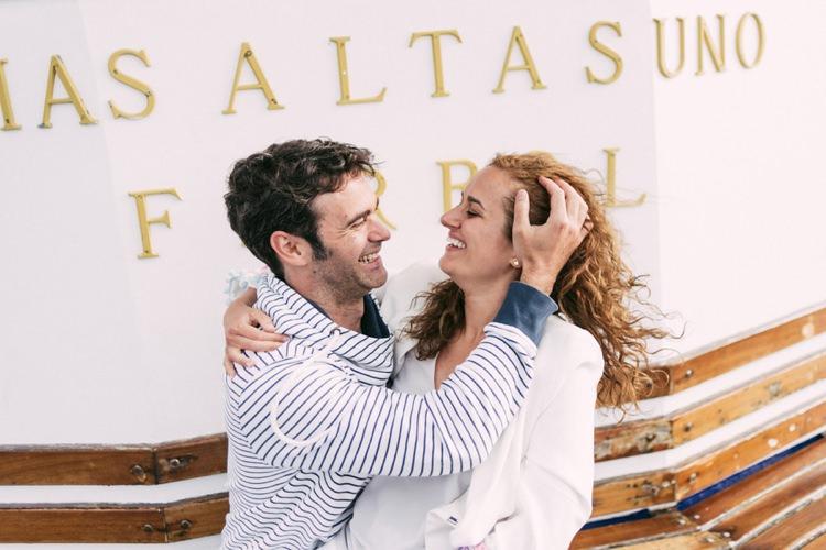 Bride Groom Laughs Romantic Bohemian Spain Wedding http://saralobla.com/