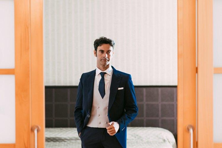 Groom Navy Blue Suit Grey Vest Polka Dot Tie Style Romantic Bohemian Spain Wedding http://saralobla.com/