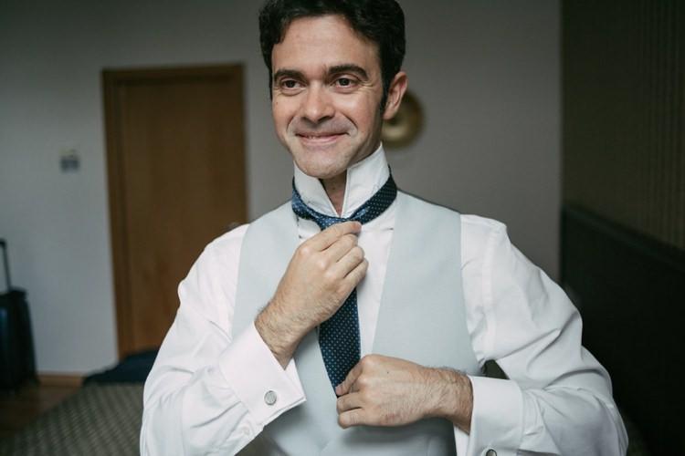 Groom White Shirt Grey Vest Polka Dot Tie Style Romantic Bohemian Spain Wedding http://saralobla.com/