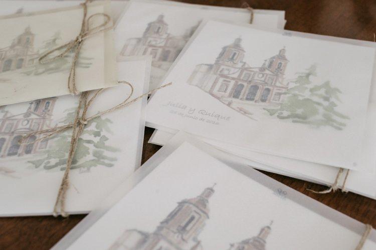 Wedding Booklets Drawing String Bow Romantic Bohemian Spain Wedding http://saralobla.com/