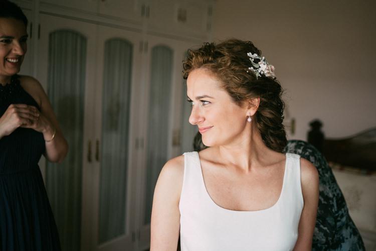 Bride Round Neck Crepe Tulle Bridal Gown Floral Hairpiece Soft Makeup Romantic Bohemian Spain Wedding http://saralobla.com/