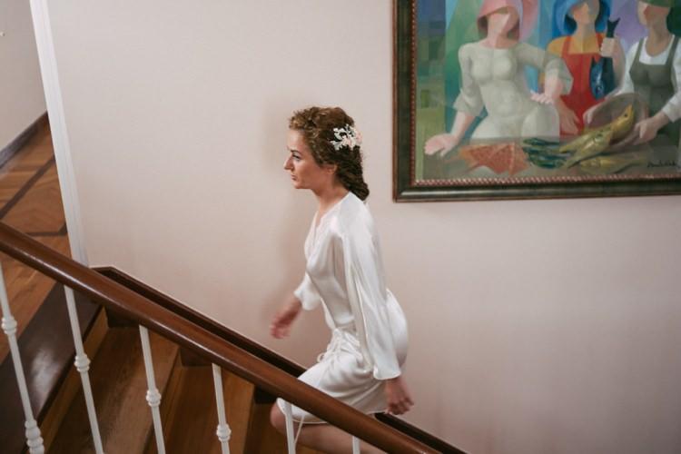 Bride Floral Hair Piece Satin Robe Wooden Stairs Romantic Bohemian Spain Wedding http://saralobla.com/
