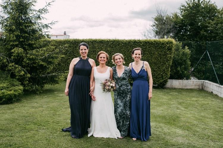 Bride Round Neck Crepe Tulle Bridal Gown Pastel Bouquet Roses Lavender Friends Family Outside Trees Grass Romantic Bohemian Spain Wedding http://saralobla.com/