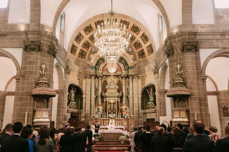 Church Ceremony Bride Groom Guests Chandelier Romantic Bohemian Spain Wedding http://saralobla.com/