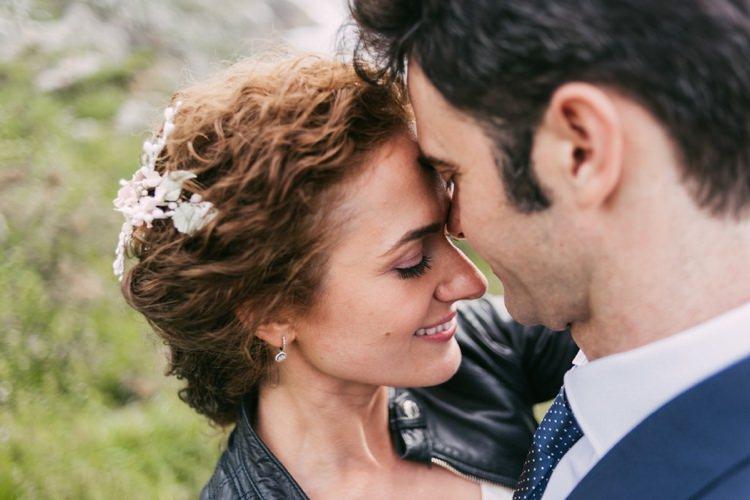 Bride Floral Hair Piece Leather Jacket Groom Navy Blue Suit Polka Dot Tie Romantic Bohemian Spain Wedding http://saralobla.com/