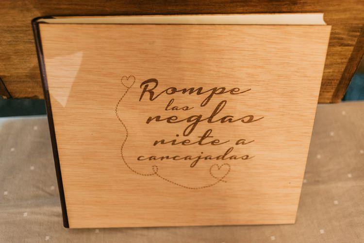 Reception Wooden Personalised Guest Book Romantic Bohemian Spain Wedding http://saralobla.com/