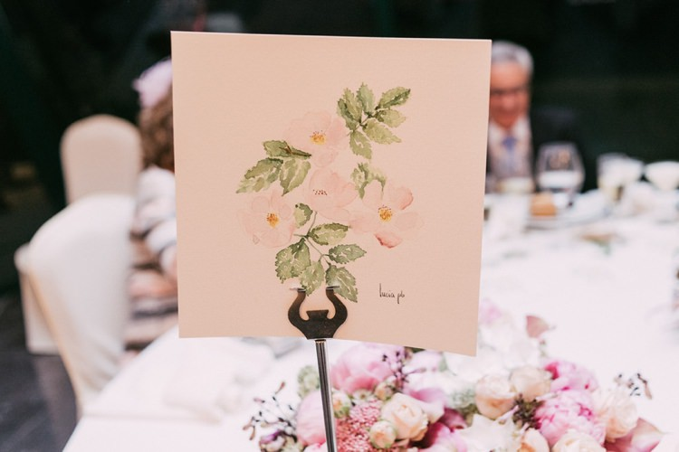 Table Number Floral Stationery Flower Centrepiece Pastels Pink Cream Purple Romantic Bohemian Spain Wedding http://saralobla.com/