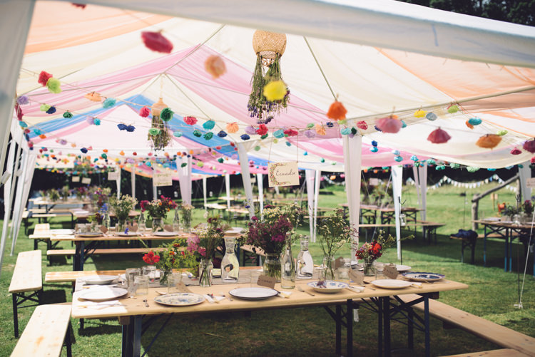 Marquee Gazebo Fabric Flowers Paper Hand Crafted Vintage Woodland Wedding http://www.jennawoodward.com/