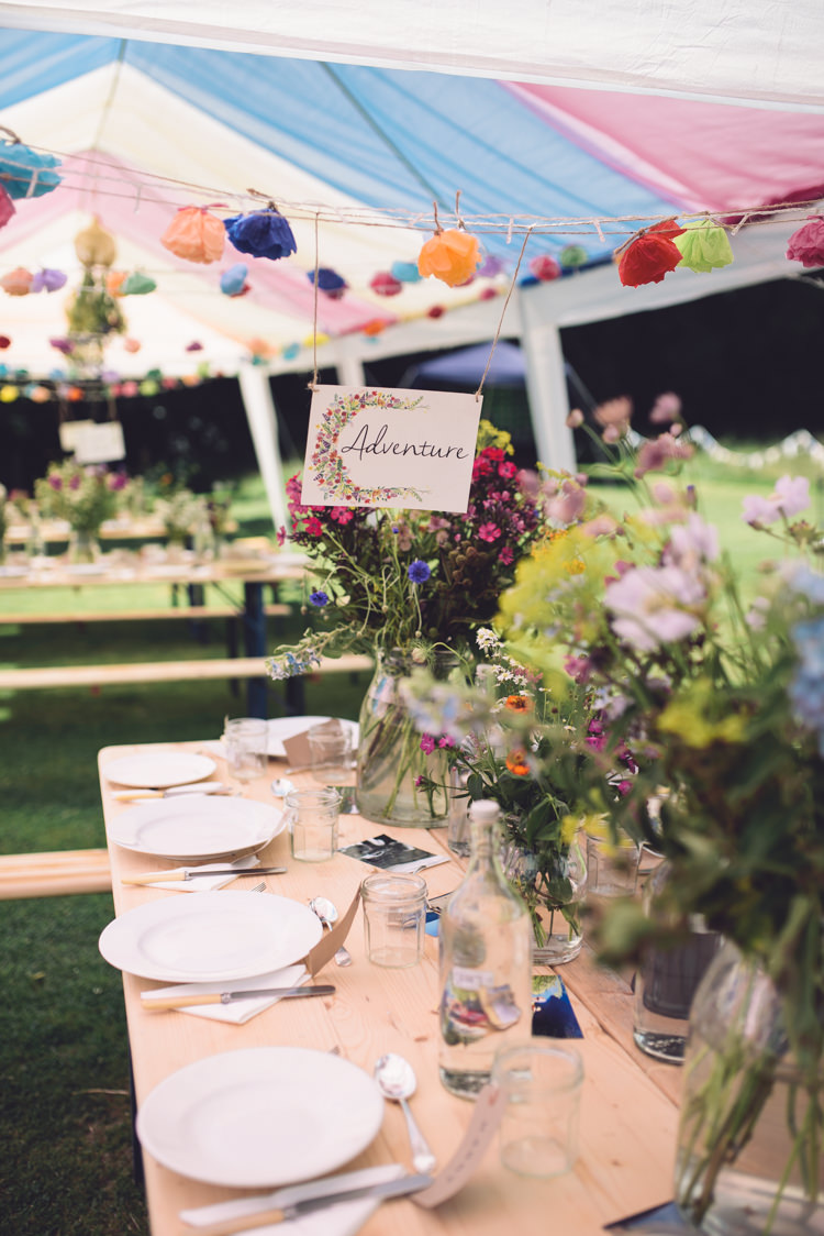 Flowers Jars Marquee Gazebo Hand Crafted Vintage Woodland Wedding http://www.jennawoodward.com/