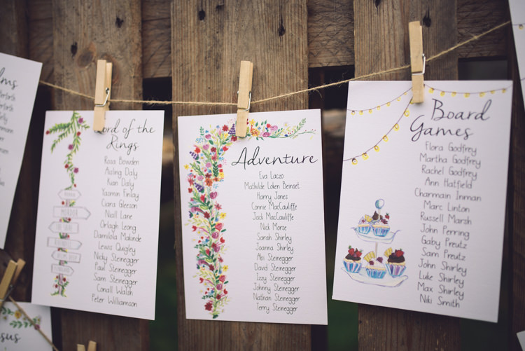 Illustrated Floral Seating Plan Table Chart Hand Crafted Vintage Woodland Wedding http://www.jennawoodward.com/