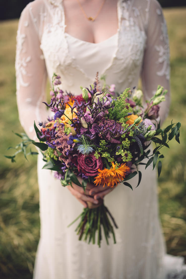 Bouquet Flowers Wild Natural Bride Bridal Purple Orange Hand Crafted Vintage Woodland Wedding http://www.jennawoodward.com/