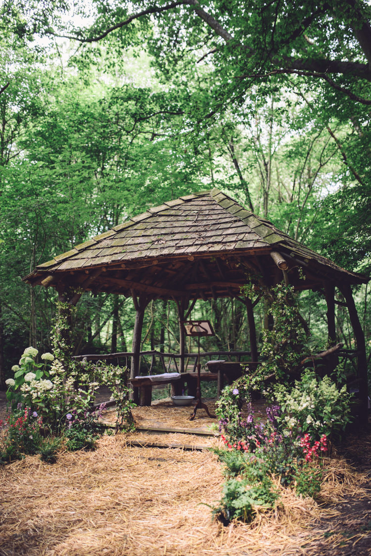 Gazebo Ceremony Outdoor Flowers Plants Hand Crafted Vintage Woodland Wedding http://www.jennawoodward.com/