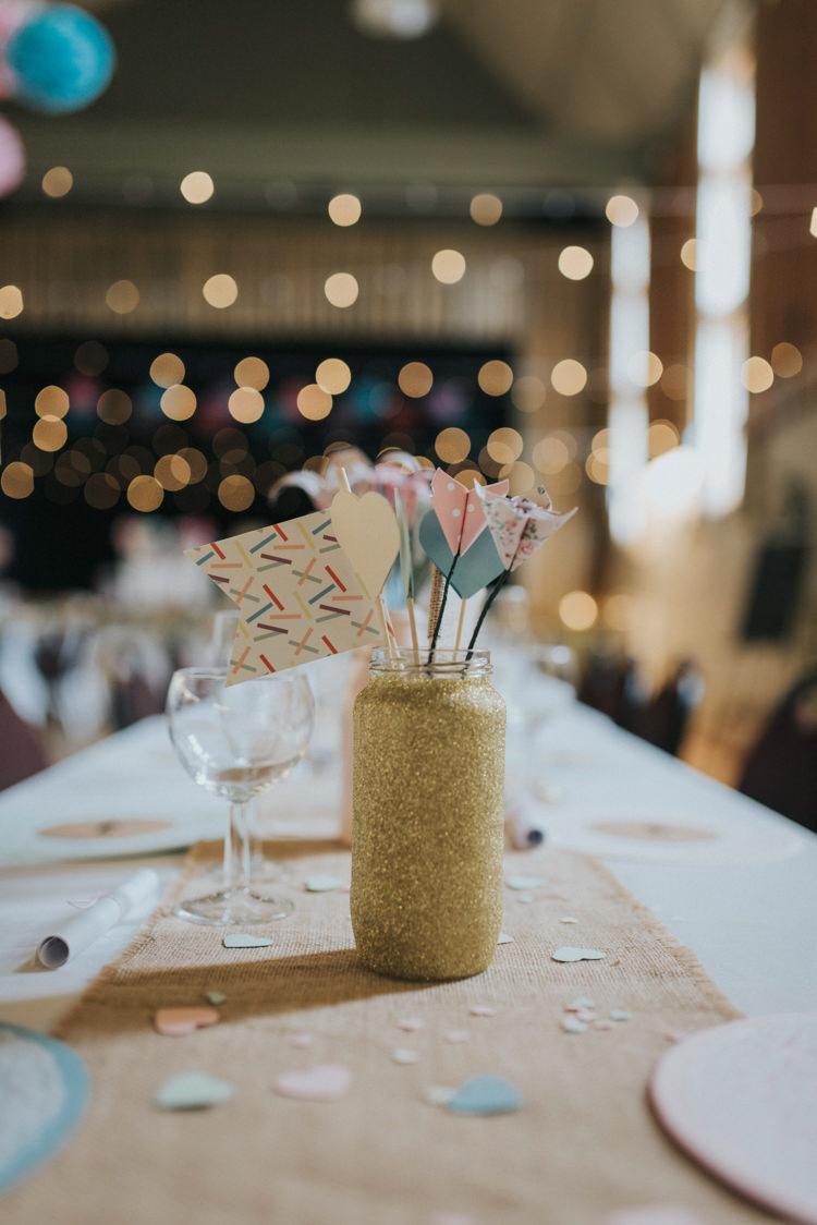 Gold Glitter Jar Heart Sticks Decor Centrepiece Hessian Confetti DIY Pastel Creative Wedding http://www.baiandelle.com/