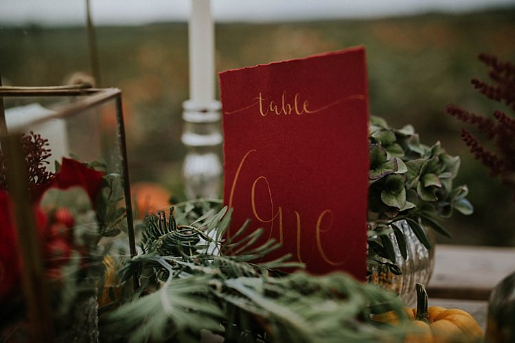 Red Gold Calligraphy Table Name Number Pumpkin Field Autumn Wedding Ideas http://www.jessicajweddingphotography.co.uk/