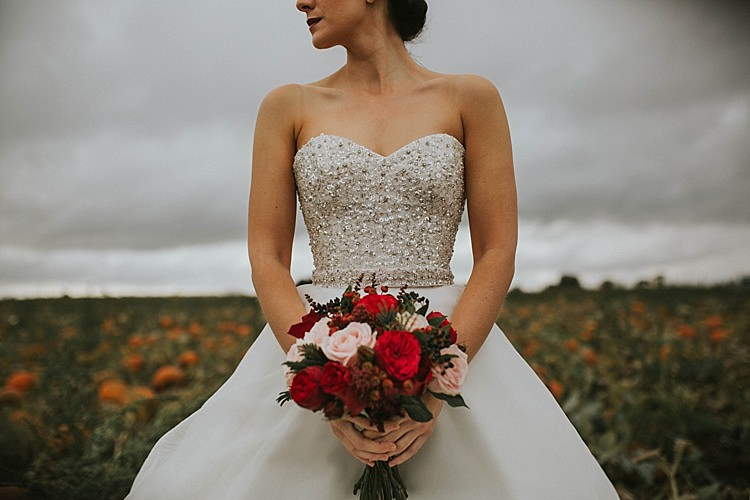 Sweetheart Dress Gown Bride Bridal Sequin Pumpkin Field Autumn Wedding Ideas http://www.jessicajweddingphotography.co.uk/