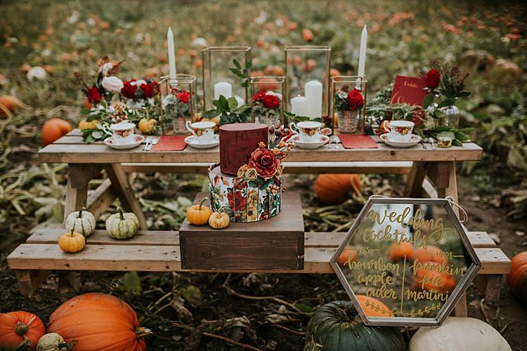 Table Scape Decor Rustic Red Orange Pumpkin Field Autumn Wedding Ideas http://www.jessicajweddingphotography.co.uk/