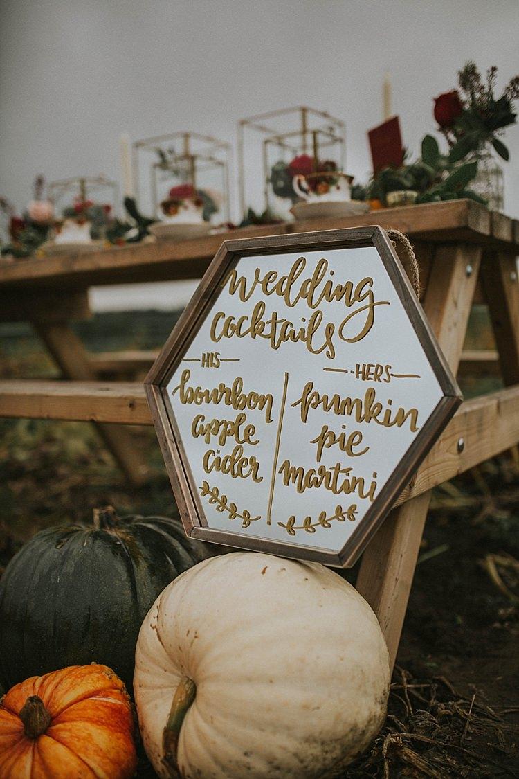Mirror Calligraphy Sign Pumpkin Field Autumn Wedding Ideas http://www.jessicajweddingphotography.co.uk/