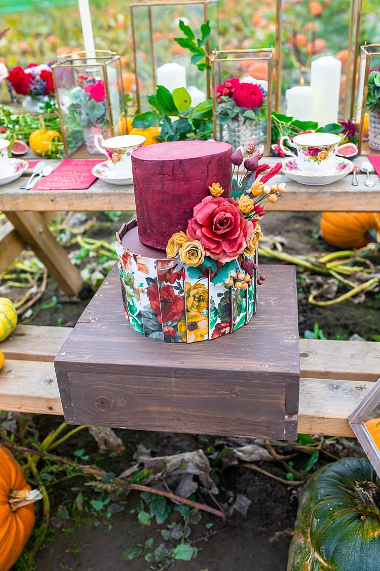 Cake Floral Red Yellow Pumpkin Field Autumn Wedding Ideas http://www.charlottewhiteweddings.co.uk/