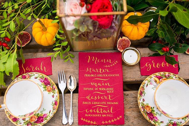 Red Gold Calligraphy Stationery Pumpkin Field Autumn Wedding Ideas http://www.charlottewhiteweddings.co.uk/