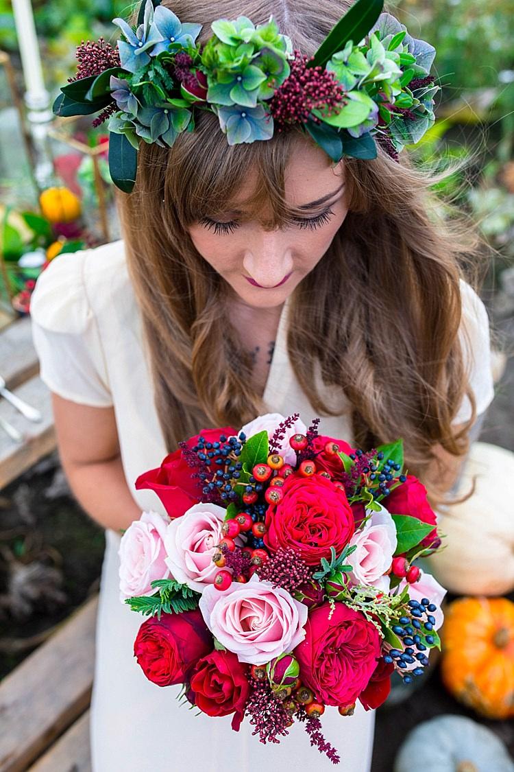 Bouquet Flowers Bride Bridal Rose Red Pink Pumpkin Field Autumn Wedding Ideas http://www.charlottewhiteweddings.co.uk/