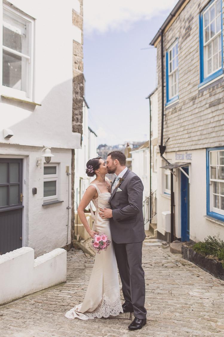 David Fielden Dress Gown Bride Bridal Satin Lace Relaxed Seaside St Ives Wedding http://www.wearetheclarkes.com/