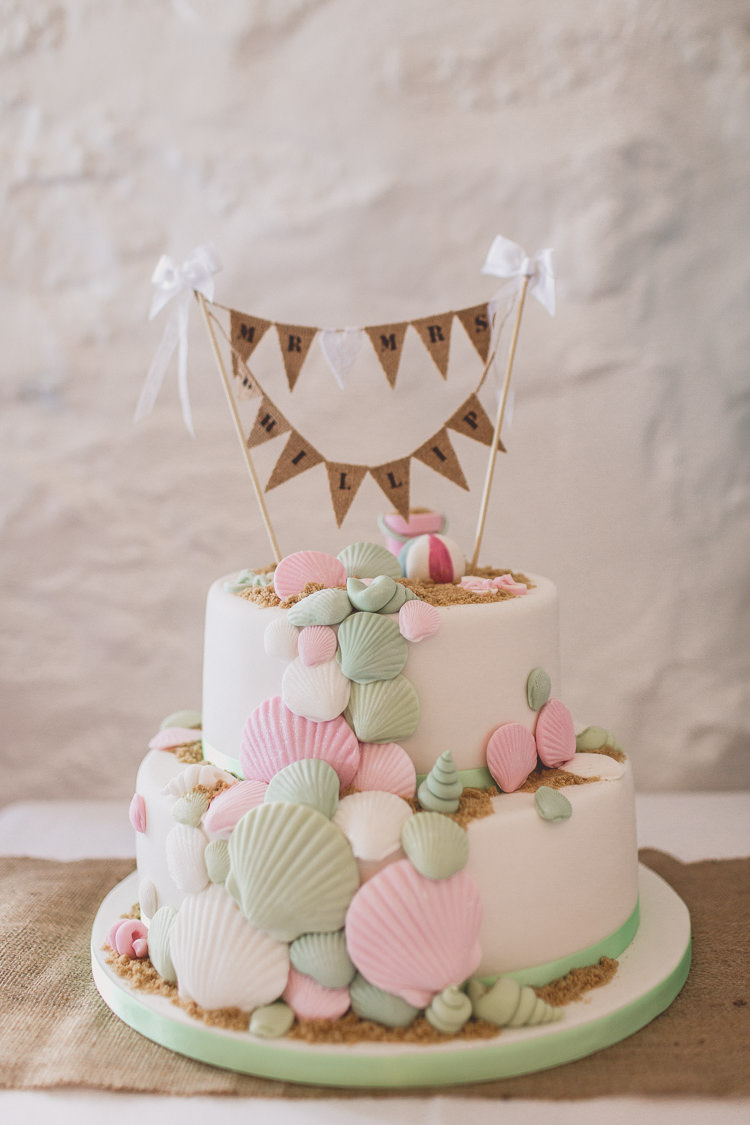 Cake Sand Shells Pastel Relaxed Seaside St Ives Wedding http://www.wearetheclarkes.com/