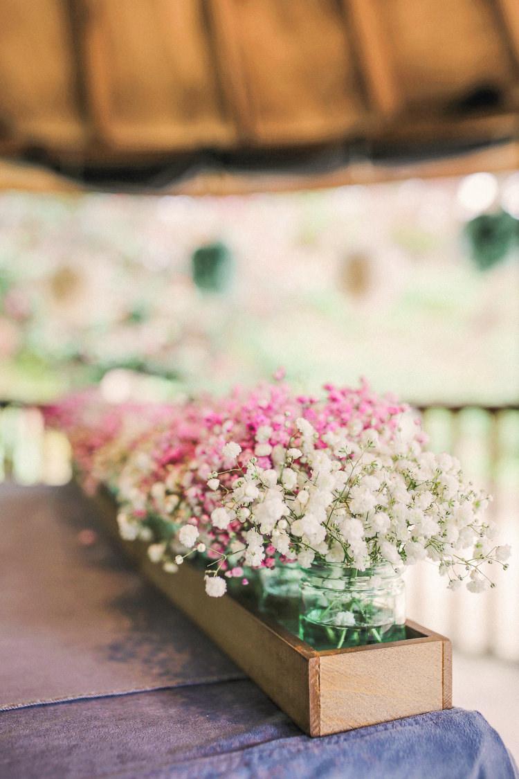 Gyp Gypsophila Baby Breath Box Flowers Jars Rustic Secret Garden Wedding http://helenrussellphotography.co.uk/