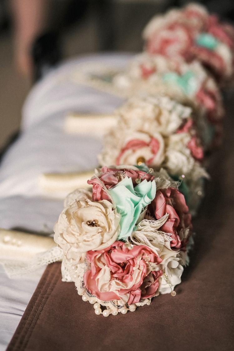 Mint Pink Fabric Flowers Bouquet Rustic Secret Garden Wedding http://helenrussellphotography.co.uk/