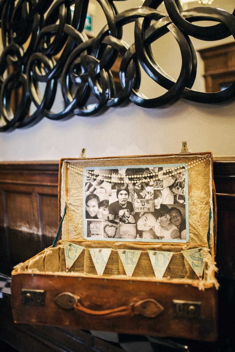 Card Suitcase Rustic Secret Garden Wedding http://helenrussellphotography.co.uk/