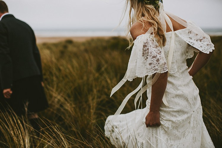 Off Shoulder Bardot Dress Gown Bride Bridal Beautiful Bohemian Beach Glamping Wedding http://www.thecurries.co/