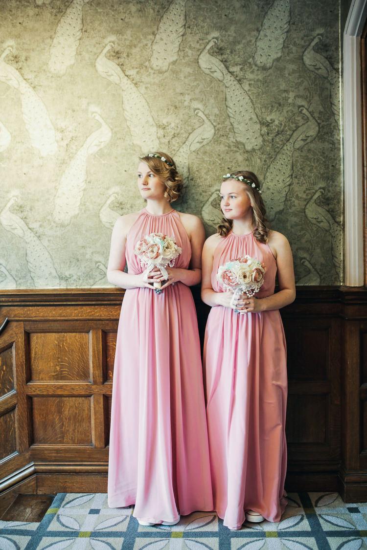 Long Pink Bridesmaid Dresses Rustic Secret Garden Wedding http://helenrussellphotography.co.uk/
