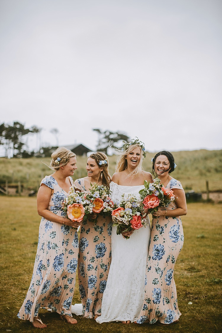 Floral Bridesmaid Dresses Pink Blue Blush Beautiful Bohemian Beach Glamping Wedding http://www.thecurries.co/