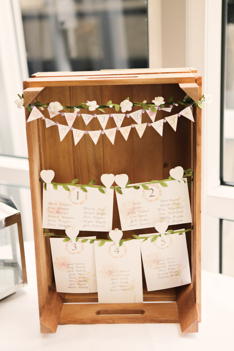 Crate Seating Plan Table Chart Bunting Rustic Secret Garden Wedding http://helenrussellphotography.co.uk/