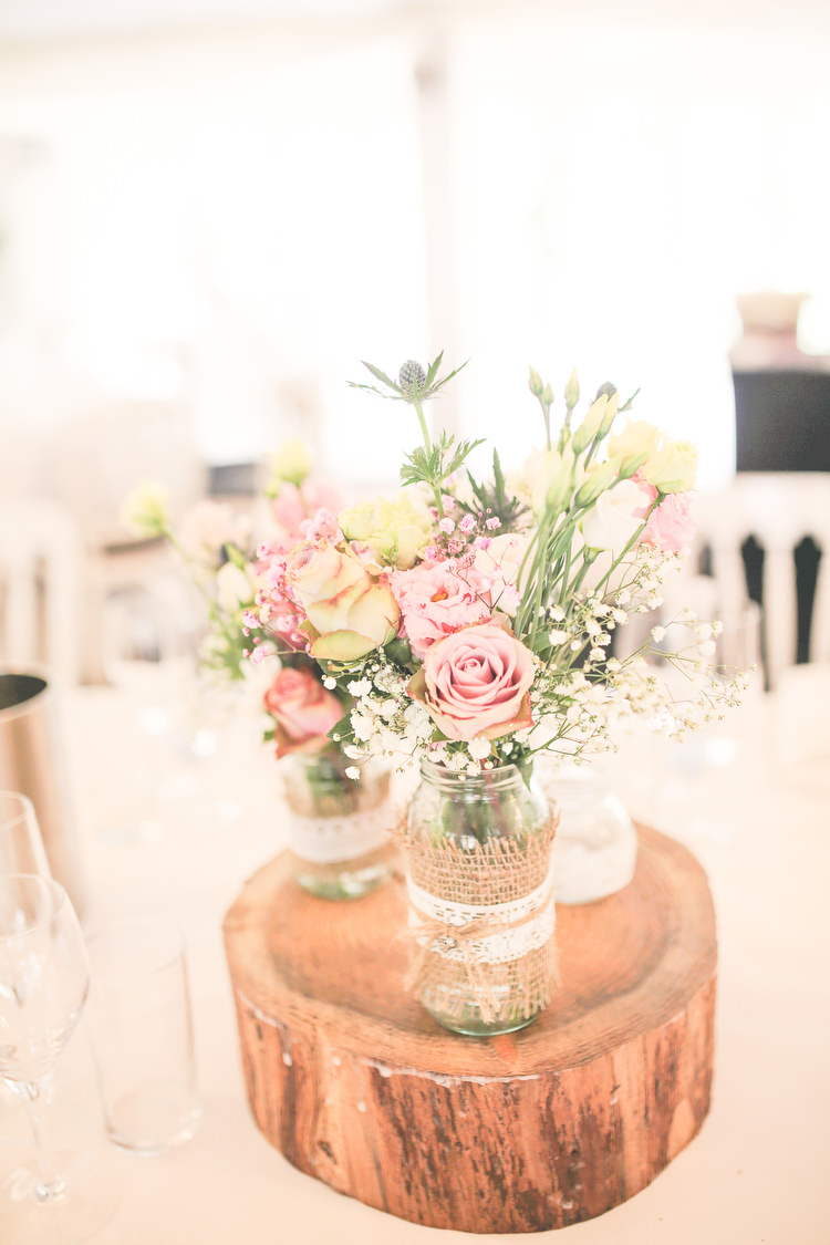 Jar Flowers Hessian Lace Log Rustic Secret Garden Wedding http://helenrussellphotography.co.uk/