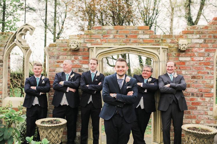 Black Suit Groom Groomsmen Rustic Secret Garden Wedding http://helenrussellphotography.co.uk/